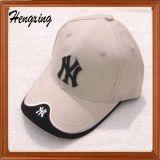 白いカスタム刺繍6のパネルの野球帽