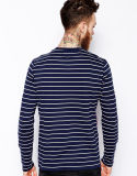 T-shirt rayé de collet de Henley de la chemise des hommes de Whoesale 3/4