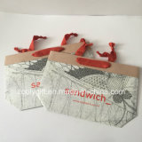 Vêtements de femmes d'impression de logo bourrant des sacs en papier de cadeau de Brown Papier d'emballage
