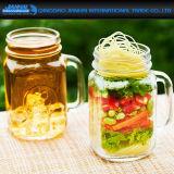 De amber Gekleurde het Drinken Fles van het Glas met Deksel en Handvat