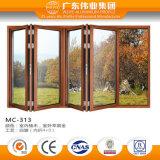 Portes pliantes à double vitrage à double vitrage