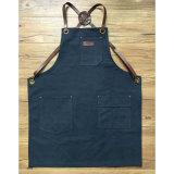 Aventais azuis duráveis Handmade da soldadura da lona com a cinta de couro traseira de Criss