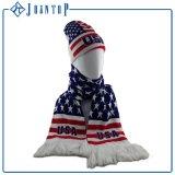 ファンはスカーフを私達様式のニットのファンスカーフおよび帽子の帽子編んだ
