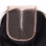 Mittleres Spitze-Schliessen-gerades Haar 14inches des Teil-peruanisches Menschenhaar-4*4