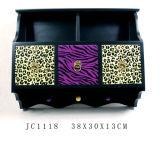 Rectángulo de joyería de madera del cajón del grano 2 del leopardo del MDF que estampa con estarcido