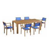 Tabella pranzante e presidenza di legno di plastica rettangolari della mobilia del giardino del ristorante di uso di molta gente