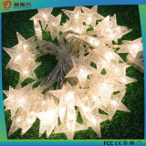 A corda solar decorativa do Natal ilumina a luz solar dada forma estrela do diodo emissor de luz