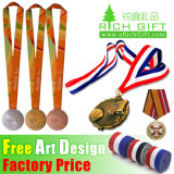 Promocional Custom Wholesale Fabric / Militar / Satin / Soft / Impresso / Poliéster / Neck / Lanyard Medal Ribbon