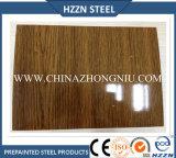 A cor de madeira da grão revestiu a bobina de aço