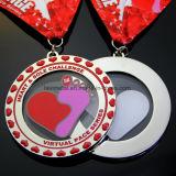 De hete Verkopende Douane hart-Gevormde Lopende Medaille van de Sport