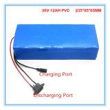 Batería de litio recargable 36V 12ah con el caso del PVC para la bici eléctrica, cargador de 42V 2A