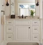Painel branco do abanador com mobília redonda do banheiro do gabinete de banheiro do punho