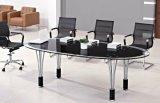 زجاجيّة علبيّة مؤتمر اجتماع مكتب طاولة معدن [أفّيس فورنيتثر] ([هإكس-غل052])