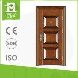 Puerta de acero de la seguridad de la seguridad con la piel de acero estampada de la puerta