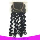 Закрытия шнурка волос высокого качества волос волосы девственницы вспомогательного индийского итальянские волнистые