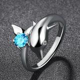 De vrouwen vormen Elegante Juwelen Liefde van 100% 925 Echte Zilveren Dolfijn & de Blauwe Ring van de Vinger van het Kristal