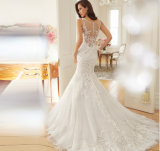 人魚のトランペットのアップリケの袖なしの床の長さの結婚披露宴の服