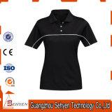 T-shirt élevé de polo de collier de femmes de qualité d'usine de coton