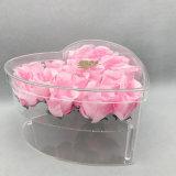 Caja de presentación plástica de acrílico de la flor de Rose del claro de la dimensión de una variable del corazón de la tarjeta del día de San Valentín