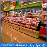 Refrigerador abierto comercial de la visualización de la carne fresca/de los mariscos