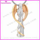 Edelstahl-Verbrennung-hängende Halskette des Engels-Ijd9739 der Dame-Wings verascht Andenken-Halter-Denkmal-Charme