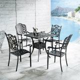 Tabela de jantar de alumínio do retângulo da mobília ao ar livre do pátio de Foshan com seis cadeiras