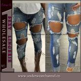 De nieuwe Jeans van de Broek van het Denim van de Dames van de Manier Elastische Magere Gescheurde (TXXL246)