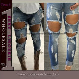 New Fashion Ladies Stretchy Skinny Ripped Jeans Calças Jeans (TXXL246)
