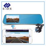 Plein enregistreur vidéo de WiFi de HD 1080P, miroir de vue arrière avec la lentille duelle