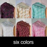 ピンクカラー女性のためのナイロン綿のレースファブリック