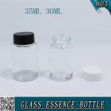 30ml 35ml vacian las botellas de cristal claras de la esencia con el tapón de tuerca plástico