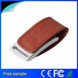 주문 빨간 가죽 조각 로고 USB 지팡이 16GB