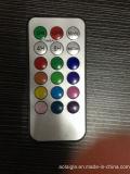 18 다색 리모트를 가진 3개의 실제적인 파라핀유 LED 초의 세트