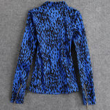 Jaqueta de bombom de algodão para mulheres Tops de leopardo Zipper assimétrico
