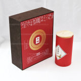 Круглая коробка упаковки еды с причудливый бумагой и стикером