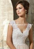 Le collet profond de Morilee V a couvert la robe de mariage arrière de bouton (Dream-100076)