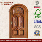 Роскошь высекла дверь входа круглой верхней части сдобренную древесиной (GSP2-038)