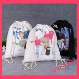 Sacs de poche de cordon de mousseline de coton estampés par coutume