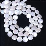 """15mmの自然な淡水の真珠の硬貨の形の緩いビードの繊維15の""""宝石類の作成"""