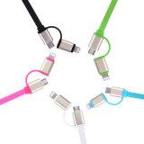 2 в одном кабеле данным по USB Charing 2.4A света СИД пропуская Retractable быстро для полностью франтовского телефона