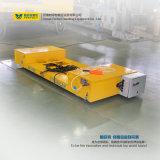 Kreuz-Bucht Übergangsflachbettfahrzeug für den Industrie-Gebrauch eingehangen an den Schienen