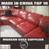 Sofa en cuir métallisé de forme rouge d'U (LZ129)