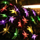 El jardín impermeable solar blanco de la luz de hadas del precio de fábrica adorna la luz de la cadena de la libélula