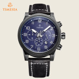 Chronographmens-analoge Uhr mit echtem Leder 72198