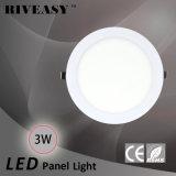 3W luz redonda de la luz del panel del acrílico LED LED con la luz del panel aislada Ce del programa piloto