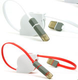 Retractable 2 en 1 Micro USB Data Cable de transferencia de datos por cable