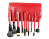 Dos equipamentos vermelhos da beleza da série de 10 partes escovas vermelhas da composição do cabelo da cabra do punho