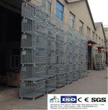 O armazenamento resistente do armazém do certificado do Ce galvanizou o recipiente de empilhamento Foldable do engranzamento de fio para o uso do armazém