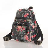 Rétro sac imperméable à l'eau floral noir de sac à dos de toile de PVC