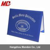 Изготовленный на заказ оптовая продажа скоросшивателя сертификата кожи Pinhole логоса золота фольги